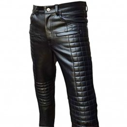 Mens Quilted Fashion Real Black Leather Bikers Pants Jeans