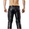 Mens Quilted Tube Style Black Leather Pants