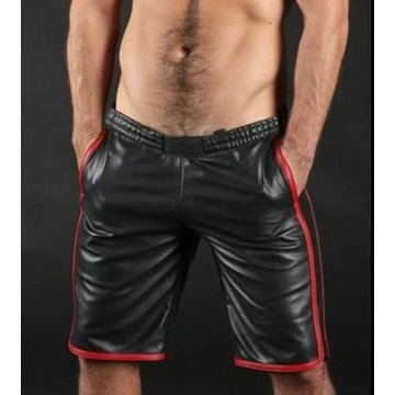 Mens Real Lamb Black Leather Basketball Shorts