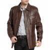 Mens Regular Fit Brown Lambskin Leather Trench Coat