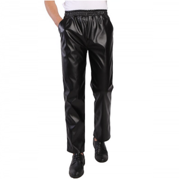 Mens Regular Fit Elastic Waist Black Leather Pants Trousers