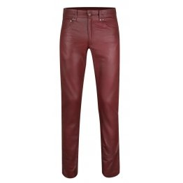 Mens Regular Size Genuine Burgundy Leather Jeans Trousers Pants