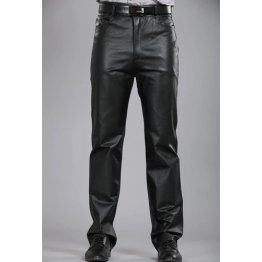 Mens Regular Straight Flat Black Leather Motorcycle Pants