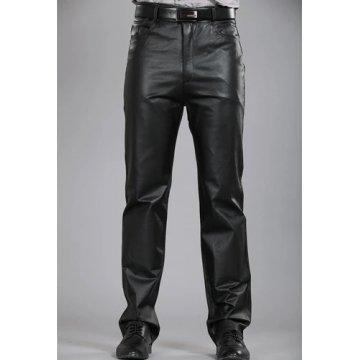 Mens Regular Straight Flat Black Leather Motorcycle Pants