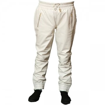Mens Relaxed Fit Real  White Leather Joggers Sweat Pants