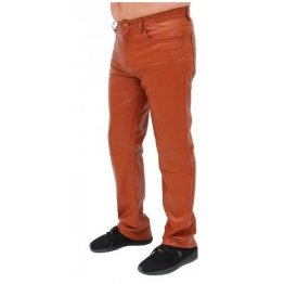 Mens Rider Tan Brown Lambskin Leather Pants