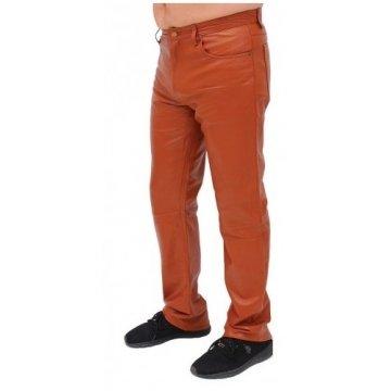 Mens Rider Tan Brown Lambskin Leather Pants