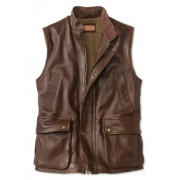 Mens Rugged Pure Lambskin Brown Leather Biker Vest