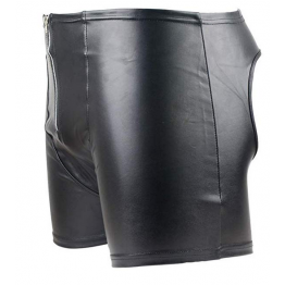 Mens Sexy Backless Genuine Black Leather Shorts