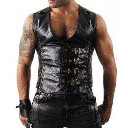 Mens Sexy Lace-up Panels Black Leather Vest