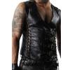 Mens Sexy Lace-up Panels Black Leather Vest