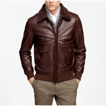 Mens Shearling Collar Genuine Brown Leather Bomber Jacket