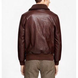 Mens Removable Fur Collar Genuine Brown Leather Bomber Jacket