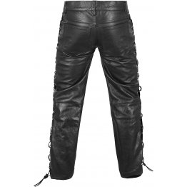 Mens Side Laces Thick Black Genuine Leather Motorcycle Pants