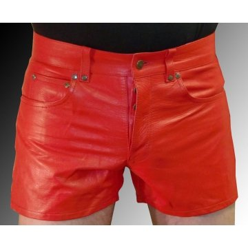 Mens Side Pockets Red Leather Shorts