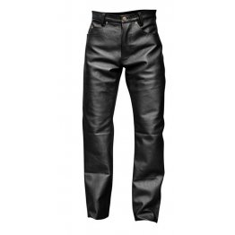 Mens Skinny Punk Style Black Leather Trouser Pants