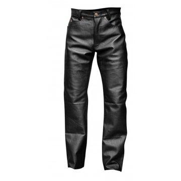 Mens Skinny Punk Style Black Leather Trouser Pants