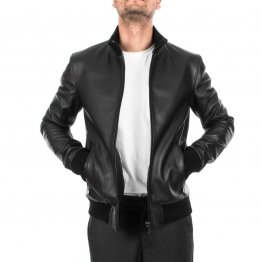 Mens Slim Fit Genuine Black Leather Bomber Jacket