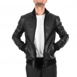 Mens Slim Fit Genuine Black Leather Bomber Jacket