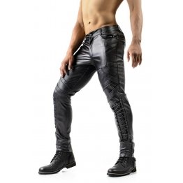 Mens Slim Fit Lace-Up Black Leather Moto Pants