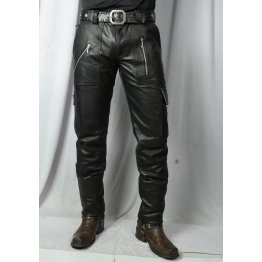 Mens Slim Fit Pure Black Leather Cargo Biker Pant