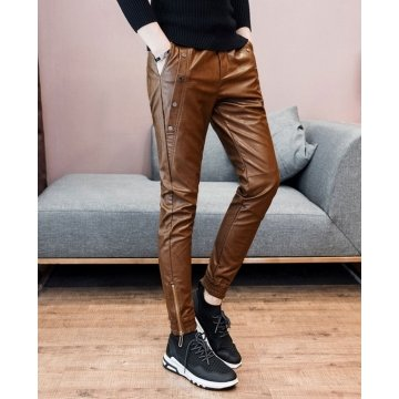 Mens Slim Fit Stripes Brown Leather Gay Trousers Motorcycle Pants