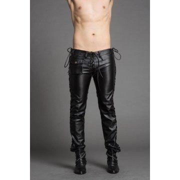 Mens Slim Genuine Black Leather Trousers Pants Singer Costumes