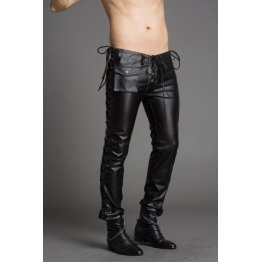 Mens Slim Genuine Black Leather Trousers Pants Singer Costumes