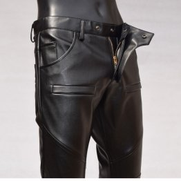 Mens Slim Pocket Design Black Leather Pencil Jeans Motorcycle Pants