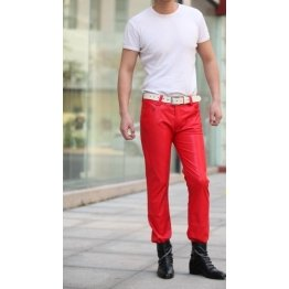 Mens Slim Singer Costumes Red Leather Boots Trousers Pants