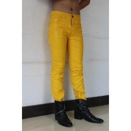 Mens Slim Singer Costumes Yellow Leather Boots Trousers Pants