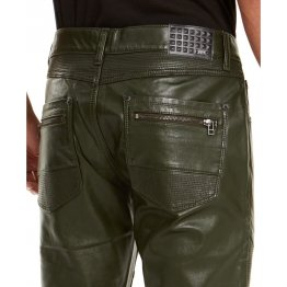 Mens Slim Straight Fit Pure Olive Green Leather Pants