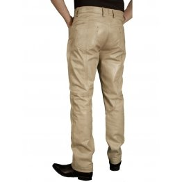Mens Smart Casual Beige Leather Trousers Jeans Pants
