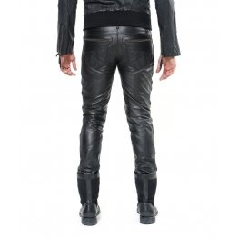 Mens Soft Lambskin Black Leather Biker Moto Pants