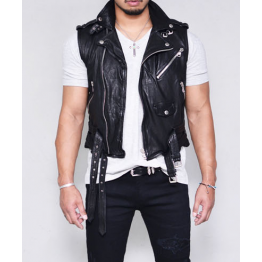 Mens Soft Lambskin Short Leather Biker Vest