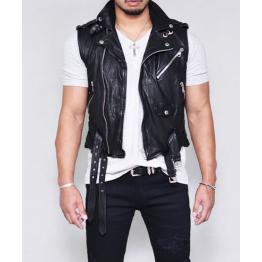 Mens Soft Lambskin Short Leather Biker Vest