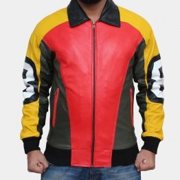 Mens Sporty Design Style Leather Bomber Jacket