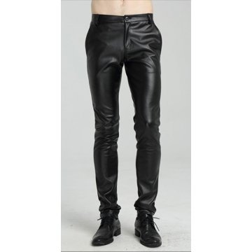 Mens Spring Casual Slim Fit Black Leather Long Pants