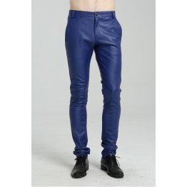 Mens Spring Casual Slim Fit Blue Leather Long Trouser Pants