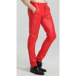 Mens Spring Casual Slim Fit Red Leather Long Trouser Pants