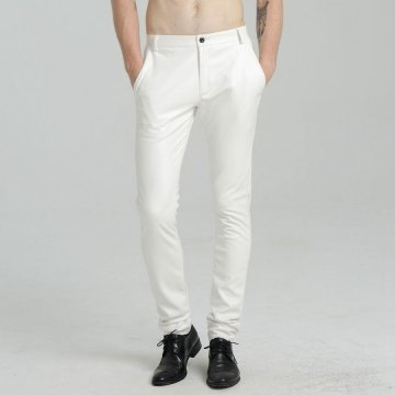 Mens Spring Casual Slim Fit White Leather Long Trouser Pants