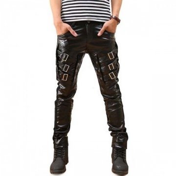 Mens Storm Rider Racing Black Leather Motorcycle Pants