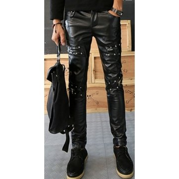 Mens Straight Style Singer Rivets Black Leather Pants
