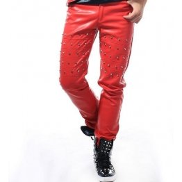 814298787dffb Mens Straight Style Singer Rivets Red Leather Pants