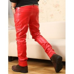 Mens Straight Style Singer Rivets Red Leather Pants