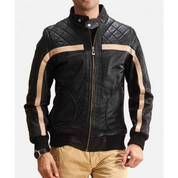 Mens Striped Quilted Black Genuine Leather Bomber Jacket