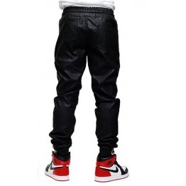 Mens Style Custom Made Leather Sweat Pants in Black