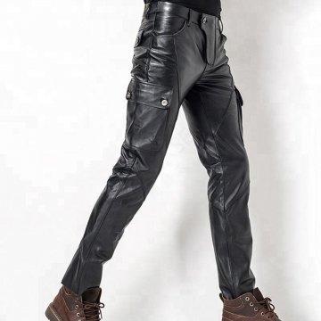 Mens Stylish Casual Genuine Black Leather Biker Pants
