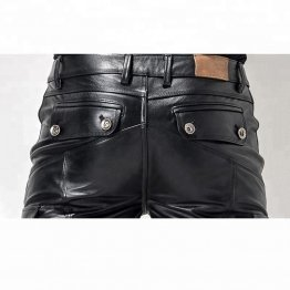 Mens Stylish Casual Genuine Black Leather Biker Pants