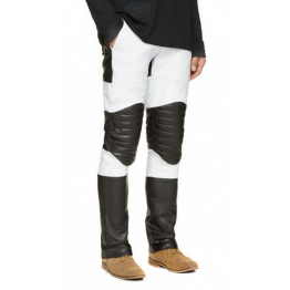 Mens Stylish Quilted Knee Panels Color Block leather Pants